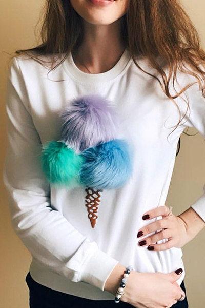 Fashion Casual Round Neck Long Sleeves Ice-Cream Print Sweatshirt