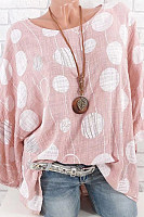 Round Neck Long Sleeve Printed Blouse
