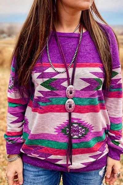 fashion printed round neck Contrast Colour sweatershirt
