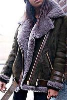 Locomotive Style Deerskin Lamb Hair Coat