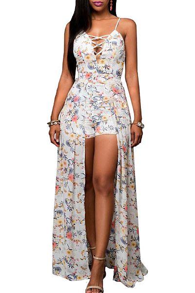 Spaghetti Strap  Asymmetric Hem Lace Up  Floral Printed Maxi Dresses