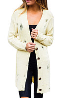 Hollow Out Plain Long Sleeve Cardigan