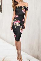 Open Shoulder  Print Bodycon Dresses