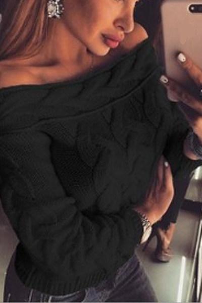 Word Collar  Casual  Long Sleeve Sweaters