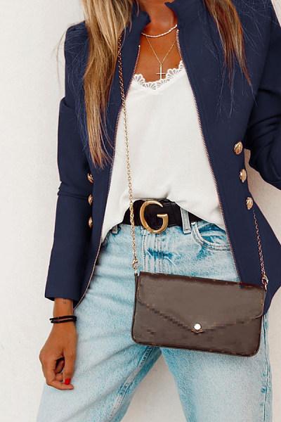 Women Casual Plain Jackets