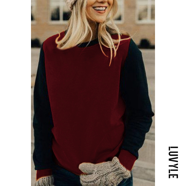 Casual women's color matching round neck loose sweatershirt - from $23.00