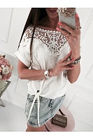 Casual Lace Patchwork Knotted Short Sleeve T-Shirt