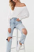 Shoulder Collar Plain Long Sleeve Casual T-Shirt