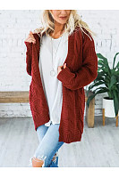 Band Collar  Plain Basic  Cardigans