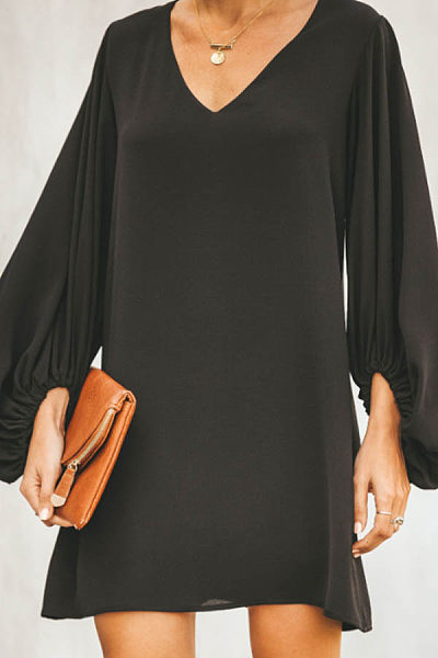 V Neck  Plain  Lantern Sleeve  Long Sleeve Casual Dresses