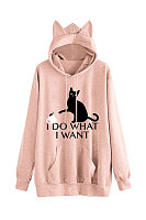 Casual loose cat printed kangaroo pocket hoodie