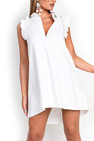 Turn Down Collar  Asymmetric Hem  Plain  Extra Short Sleeve Casual Dresses