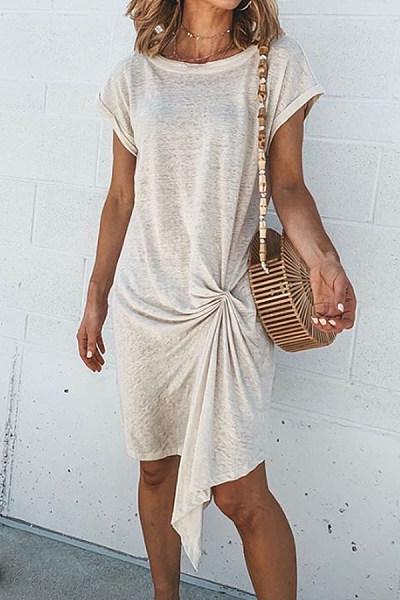Round Neck Irregular Hem Maxi Dresses