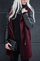 Band Collar  Zipper  Patchwork Outerwear