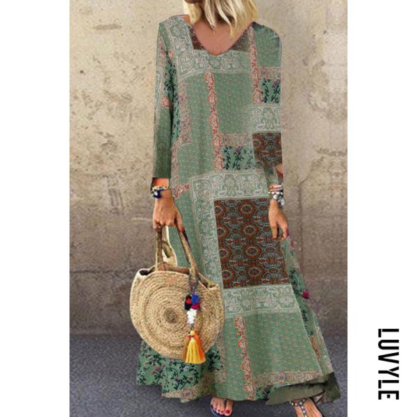Green Long-Sleeved Printing Loose Waist Split-Joint Dress Green Long-Sleeved Printing Loose Waist Split-Joint Dress