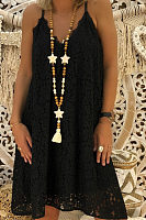 Spaghetti Strap  Lace Plain  Sleeveless Casual Dresses