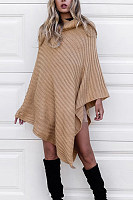 Cowl Neck  Asymmetric Hem Loose Fitting  Plain Sweaters