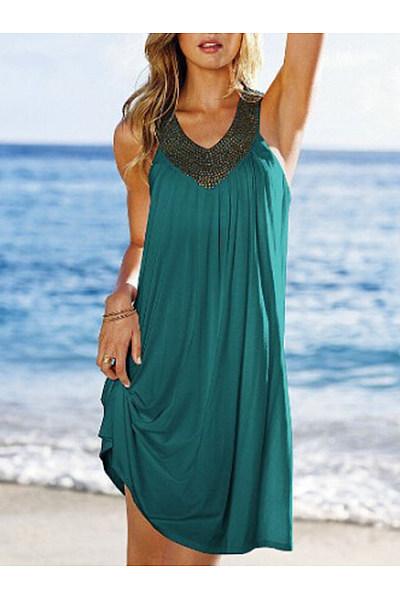 V Neck  Beading  Color Block Shift Dress