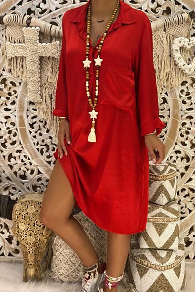 V-neck long sleeve loose dress