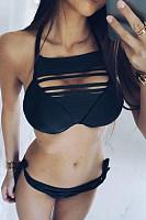 Halter  Plain  Casual  Bikini