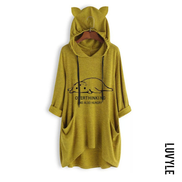 Yellow Hat Collar Long Sleeve Cat Casual T-Shirt Yellow Hat Collar Long Sleeve Cat Casual T-Shirt