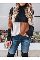 Round Neck  Patchwork  Basic  Sweaters