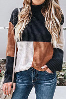 Fashion Color Blocking Pullover Sweater