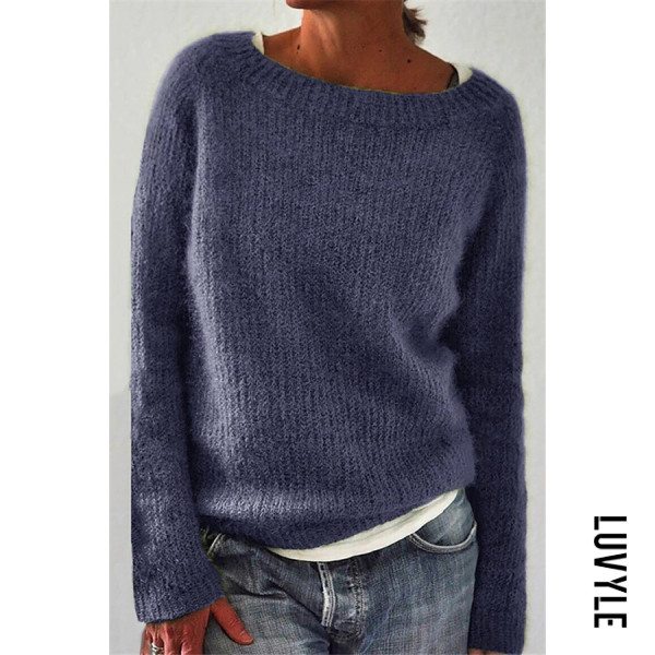 Casual Round Neck Long Sleeve Loose Sweater - from $30.00