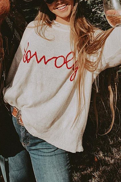 Round Neck Loose-Fitting Letters Sweater