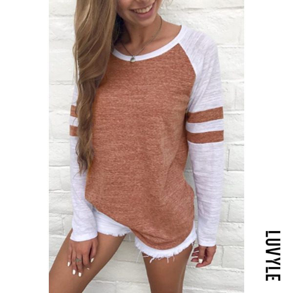 Brown Round Neck Patchwork T-Shirts Brown Round Neck Patchwork T-Shirts