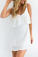 V Neck  Backless Patchwork  Polka Dot  Sleeveless Casual Dresses