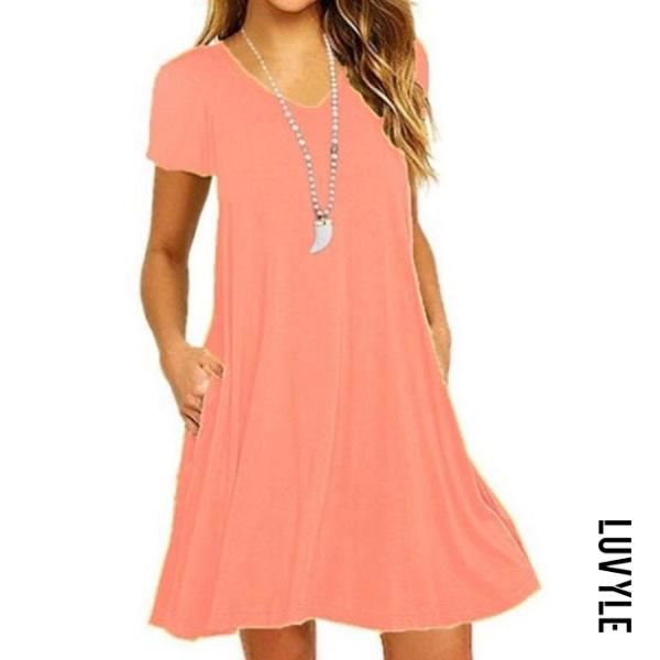 Orange V Neck Plain Shift Dress Orange V Neck Plain Shift Dress
