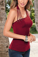 Halter  Hollow Out Plain  Vests
