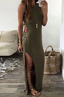 Crew Neck  High Slit  Plain  Sleeveless Maxi Dresses
