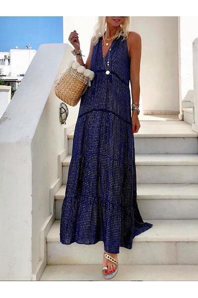 Casual V-Neck Sleeveless Dress
