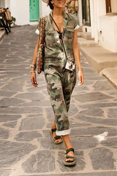 Casual Fashion Flip Collar Camouflage Printed Sleeveless Jumpsuits