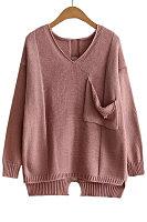 V Neck  Asymmetric Hem Cutout  Plain Sweaters