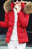 Casual Hooded Zips Quilted Padded Coat