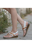 Color Block Peep Toe Casual Date Travel Wedge Sandals