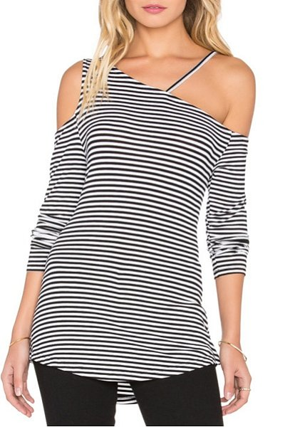 One Shoulder Cutout Striped Shirt