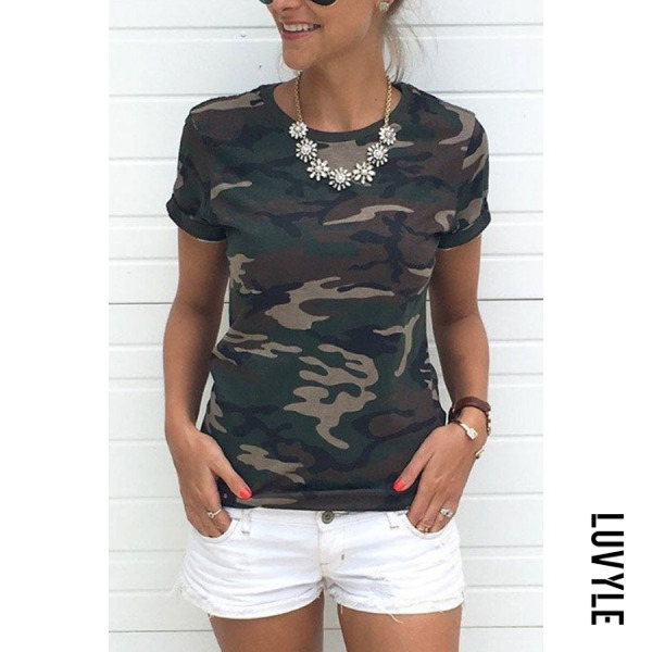 Army Green Round Neck Camouflage T-Shirts Army Green Round Neck Camouflage T-Shirts