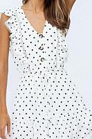 V Neck  Single Breasted  Dot  Sleeveless Skater Dresses