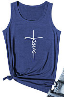 Letters Print Sleeveless T-shirt