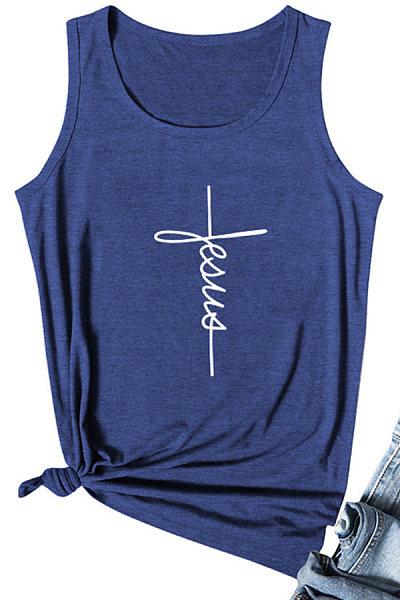 Letters Print Sleeveless T-shirt