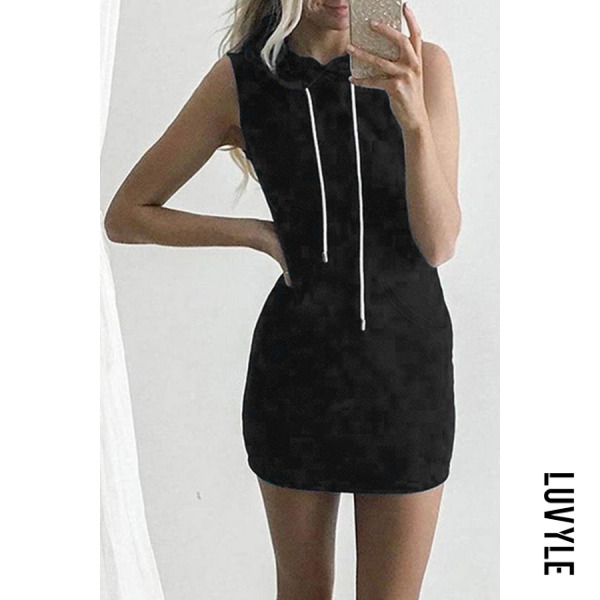 Black Hooded Drawstring Patchwork Bodycon Dresses Black Hooded Drawstring Patchwork Bodycon Dresses