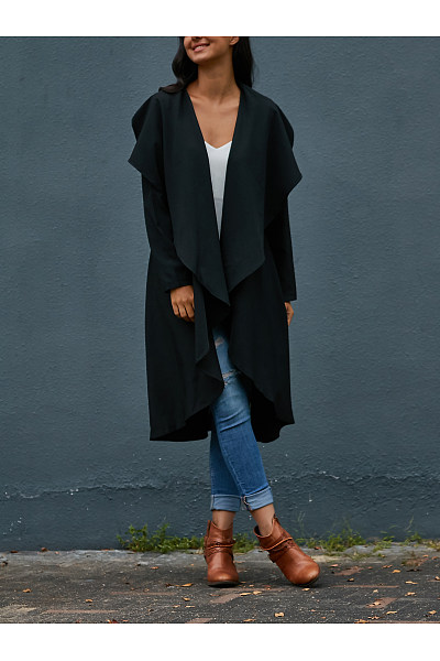 Lapel  Plain  Basic  Cardigans