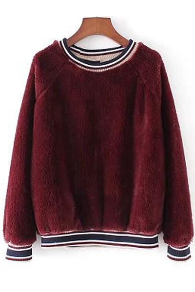 Round Neck  Plain  Sweatshirts