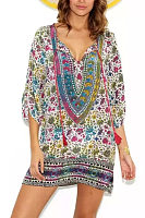 Vintage V-Neck National Wind Baroque Positioning Print Streamer Dress