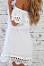 Off Shoulder  Flounce  Bust Darts  Hollow Out Plain  Short Sleeve Skater Dresses