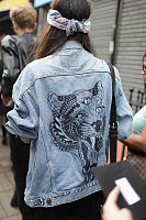 Leopard Embroidery Casual Denim Jacket